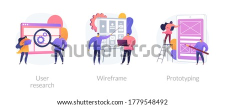 UX design abstract concept vector illustration set. User research, wireframe, prototyping, design project, online survey, reports and analytics, web page layout, website navigation abstract metaphor.