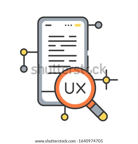 UX research color line icon. Systematic investigation of users and their requirements, in order to add context and insight into the process of designing the user experience. Editable stroke.