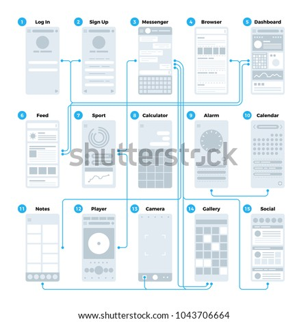 Ux ui application interface flowchart. Mobile wireframes management sitemap vector mockup. Illustration of flowchart user phone interface, sitemap and navigation