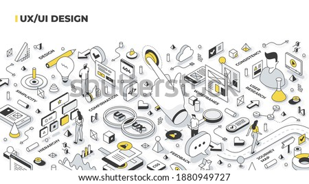 UX, UI design concept. Building user experience roadmap, planning user interaction with the interface. Isometric vector illustration