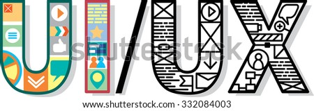 UX UI letters with design elements. Vector illustration.