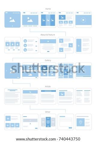UX UI Web Flowchart. Vector illustration