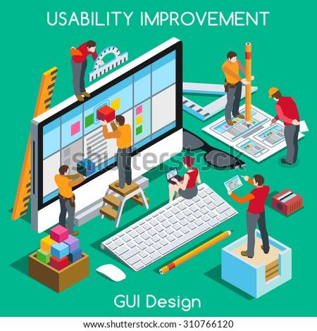 Ux User Experience Development Design Usability Improve. Isometric People GUI UI Interface experiment design improve UX 3D Concept Team project guide build Web app Computer Graphic Vector illustration