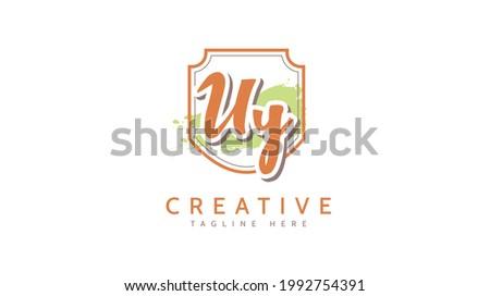 UY Initials, handwriting logo vector