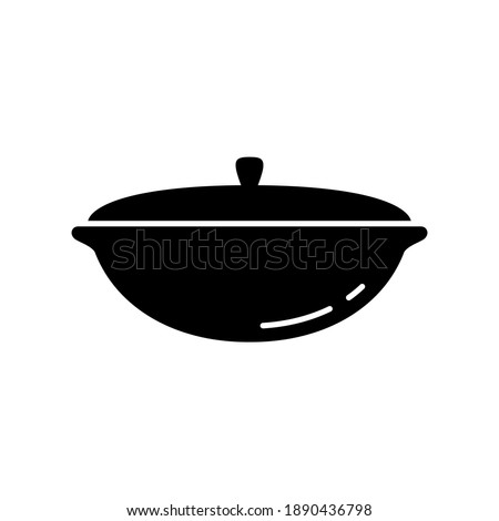 Uzbek cauldron. Silhouette icon of cast iron saucepan with lid. Black simple illustration of national dish for cooking pilaf. Outline isolated vector pictogram on white background Foto d'archivio ©