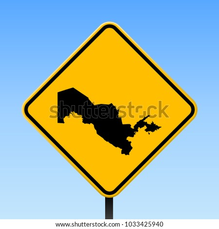 Uzbekistan map road sign. Square poster with country outline on yellow rhomb signboard. Vector illustration.