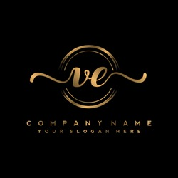 V E Initial handwriting logo vector