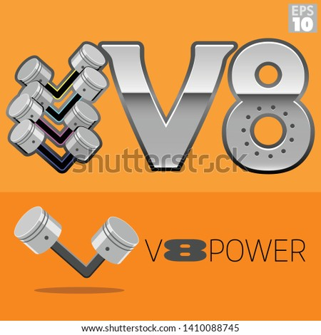 v8 engine power with pistons logo