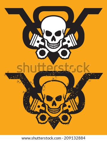 V8 engine vector emblem with skull and crossed pistons. Includes clean and grunge versions.