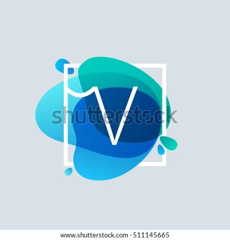 v letter logo in square frame