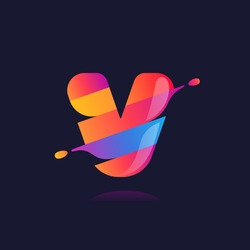 V letter logo with vibrant wave gradient shift. Vector font perfect to use in any disco labels, dj cards, nightlife posters, expressive identity, etc.