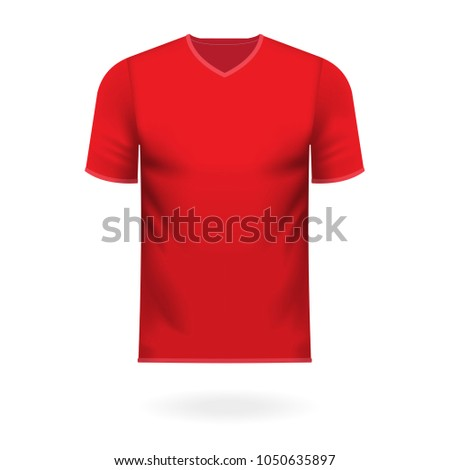V neck tee shirt in generic red color as vector illustration