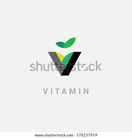 V - vitamin. Creative vector logo in a modern flat style