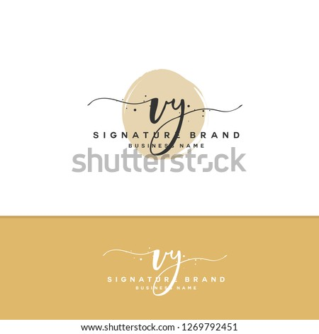 V Y VY Initial letter handwriting and  signature logo.