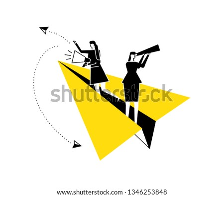 Vacancy announcement - flat design style vector illustration. Black, yellow and white composition with female specialists searching for candidate, flying on paper plane, holding spyglass, megaphone