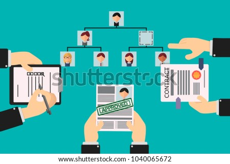 vacancy in the organizational hierarchy, the employee applies for the position and his resume is approved, his new position is shown in the organizational chart and the contract signature process