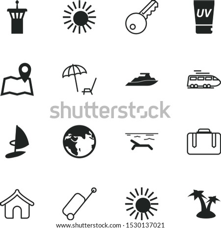 vacancy vector icon set such as: set, tour, solar, coconut, earth, web, cosmetic, exotic, uv, safety, neighborhood, key, rail, tropic, railway, surfing, unlock, water, place, location, sail, track
