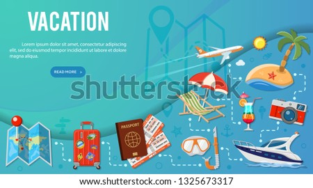 Vacation and Tourism Banner Infographics with Flat Icons Planning, Luggage, Trip, Cocktail, Tickets, Aircraft and Suitcase. vector illustration