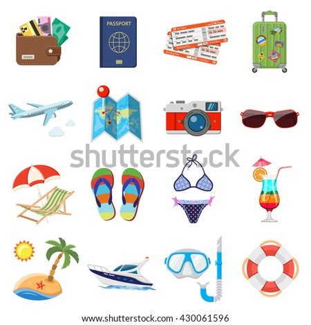 vacation and tourism flat icons