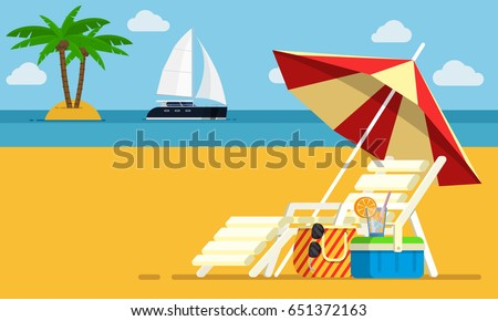 Vacation and travel concept. Beach umbrella, beach chair. Background of the sea with the ship