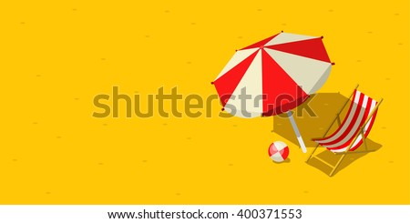 Vacation and travel concept. Umbrella, beach chair and a ball on the beach. Flat style vector illustration
