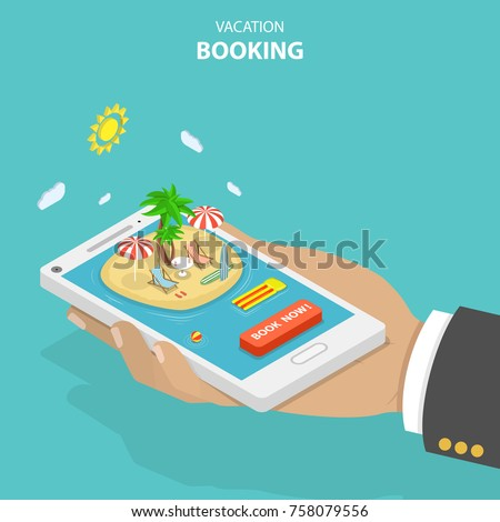 Vacation booking flat isometric low poly vector concept. Big hand is holding a smartphone with resort island, palms, loungers, umbrella, surf boards and order button.