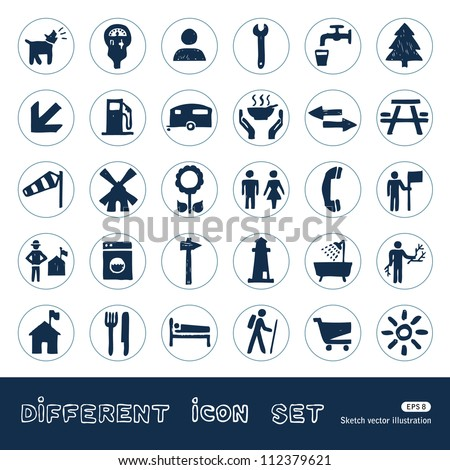 Vacation, camping and hotel web icons set. Hand drawn sketch illustration isolated on white background