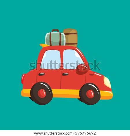 Vacation car with luggage vector illustration