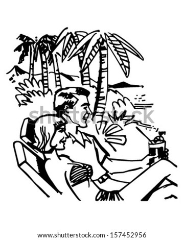 Vacation Couple - Retro Clip Art Illustration