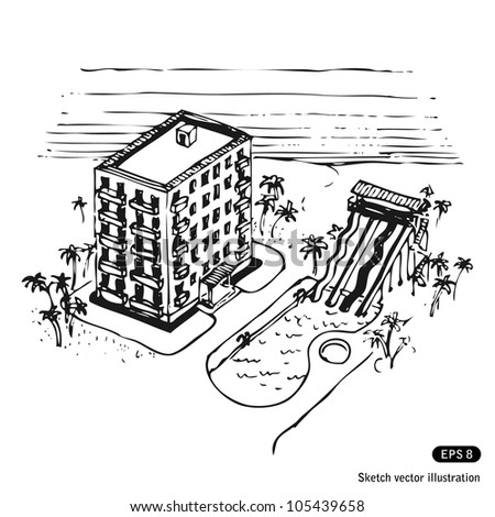 Vacation hotel and swimming pool by the ocean hand drawn for Swimming pool sketch
