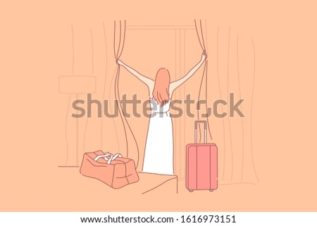 Vacation, hotel, arrival, tourism concept. Young girl spent wonderful time on vacation and arrived home. Tourist finally arrived in hotel room and enjoys views through window. Simple flat vector