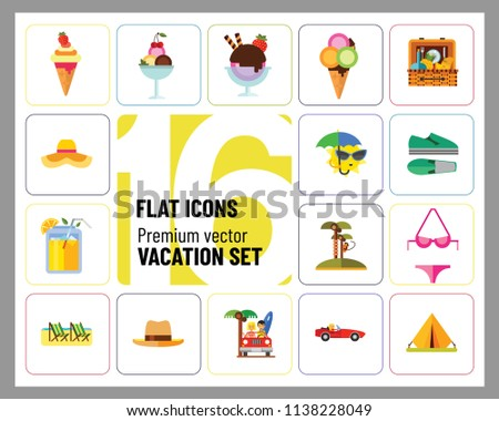 Vacation Icon Set. Picnic Basket Summer Shoes Bikini Tent Sun With Umbrella Sunglasses Womans Summer Hat Mans Hat Summer Drink Woman In Cabriolet Coconut Palms With Monkey Beach Couple In Cabriolet