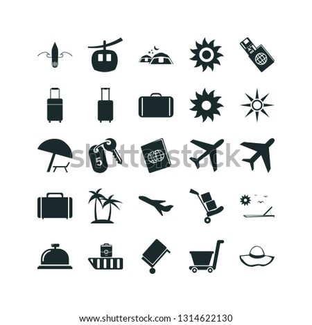 vacation icon set. plane icon vacation travelling transport and island with palms icon vacation travelling vector icons.