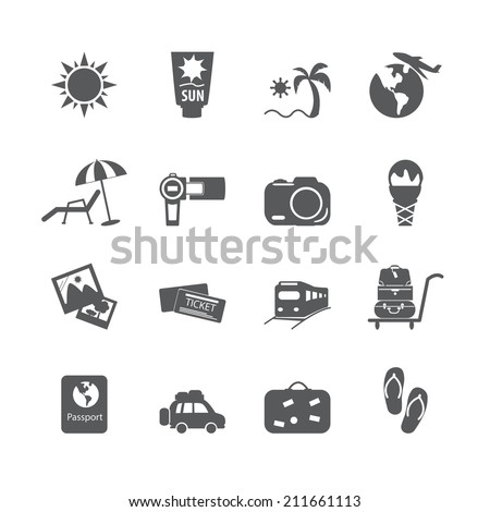 vacation icon set, vector eps10.