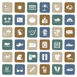 Vacation Icons. Grunge Color Flat Design. Vector Illustration.