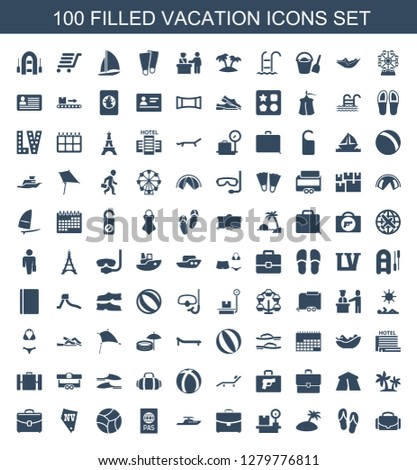 vacation icons. Trendy 100 vacation icons. Contain icons such as camera case, flip flops, island, luggage weight, case, boat, passport, beach ball. vacation icon for web and mobile.
