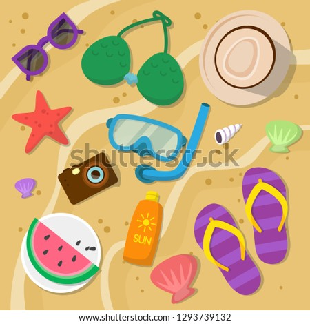 Vacation items vacation at sea travel accessories holiday long day off travel things concept background view. Modern flat style vector illustration.