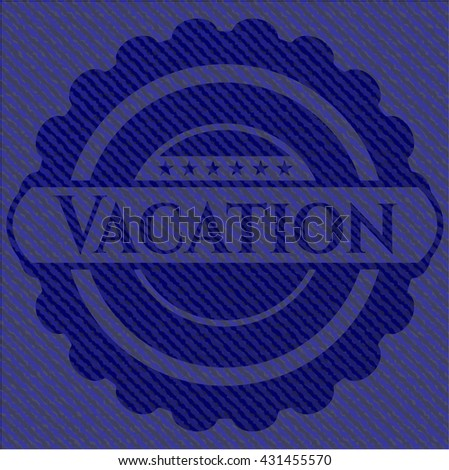 Vacation jean or denim emblem or badge background