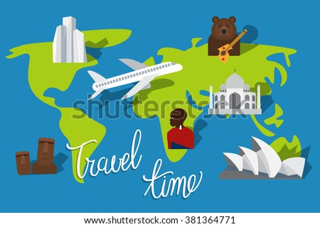 Vacation Plan Travel Time Tourism Places And Landmarks Vector Illustration