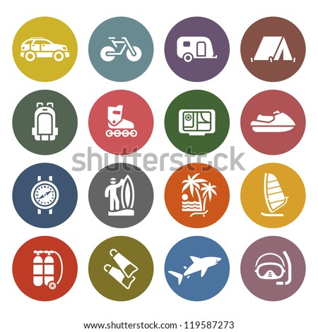 Vacation, Recreation & Travel, icons set - Retro color version