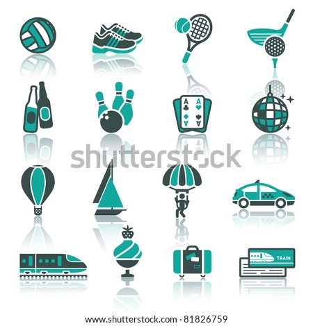 Vacation, Recreation & Travel, icons set. Sport, Tourism with reflection