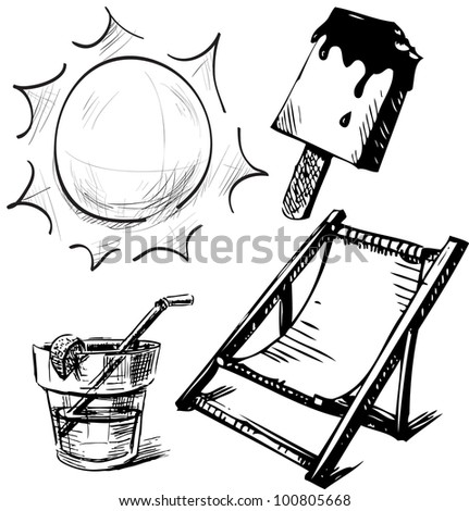 Vacation summer time set. Hand drawing sketch vector illustration