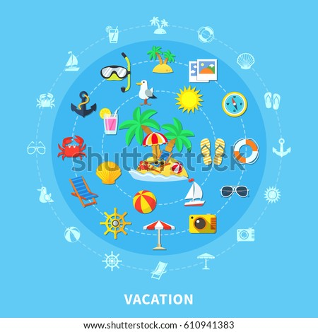 vacation travel flat round