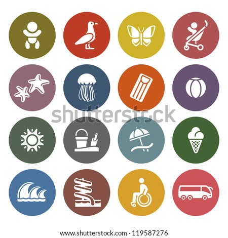 Vacation, Travel & Recreation, icons set - Retro color version