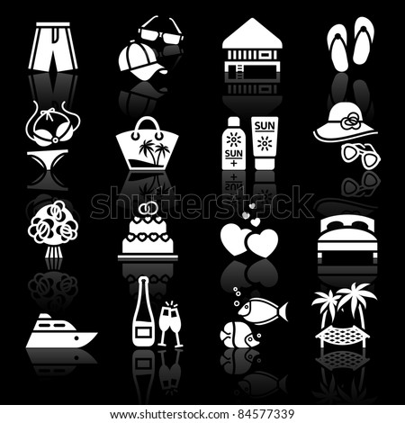 Vacation, Travel & Recreation. icons set. Sport, Tourism with reflection.