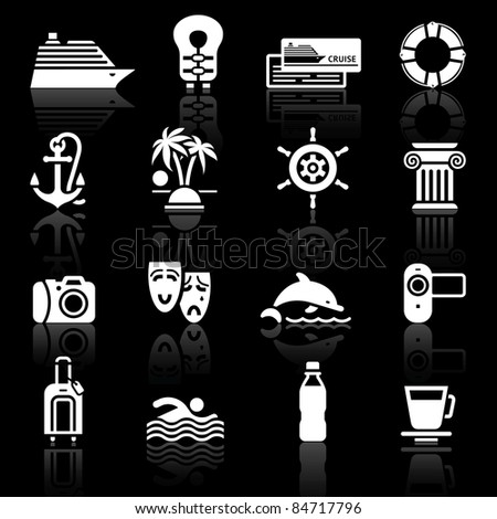 Vacation & Travel, Recreation. icons set. Tourism, Sport with reflection.