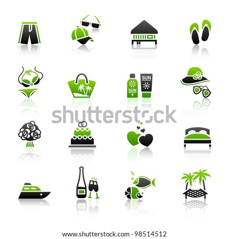 Vacation, Travel & Recreation, icons set. Tourism, Sport with reflection. - stock vector