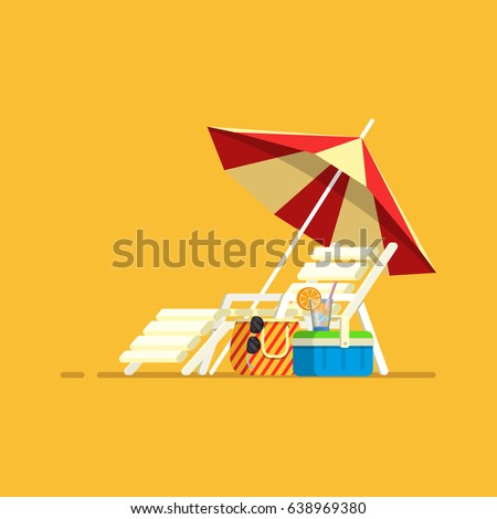 Vacation, travel, vacation. Beach umbrella, beach chair.