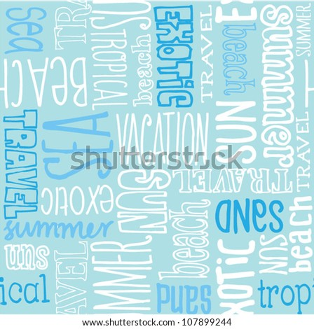 Vacation travel words seamless vector