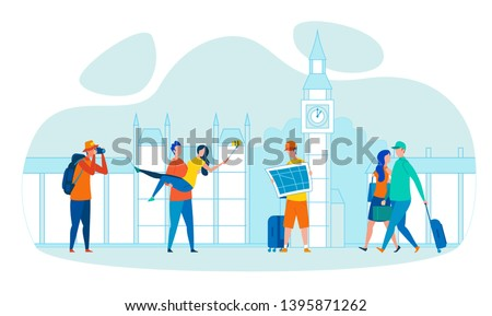 Vacation Voyage in Europe Flat Vector Concept. Photographer Making Street Photo, Couple Shooting Selfie on Background of Big Ben, Traveler Holding Map, Tourists Carrying Baggage in London Illustration